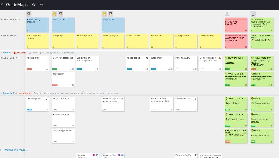 StoriesOnBoard User Story Map